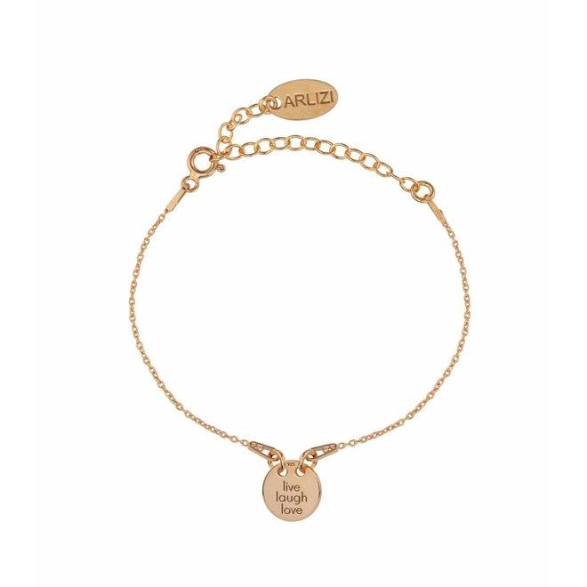Bracelet live laugh love charm - rose gold plated silver - ARLIZI 1451 - Kendal