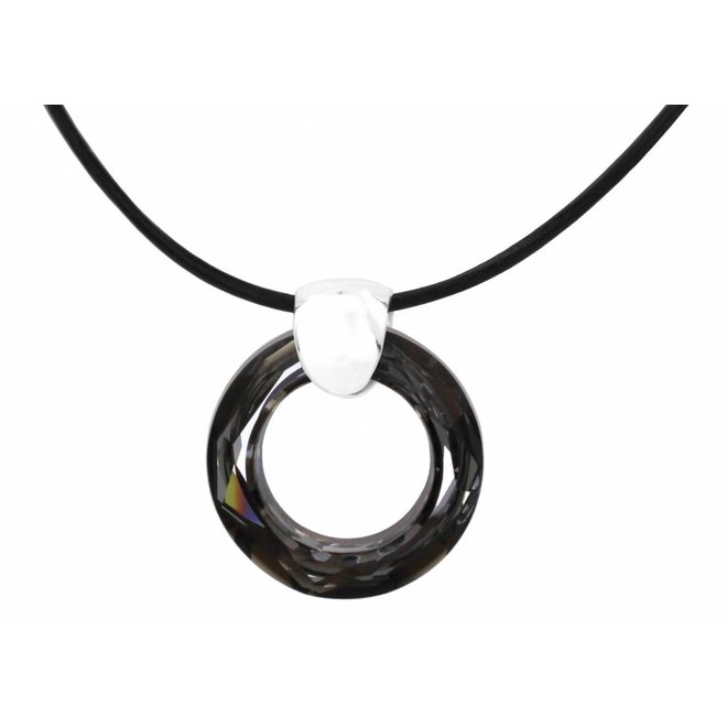 Necklace black leather crystal ring - sterling silver - 1368