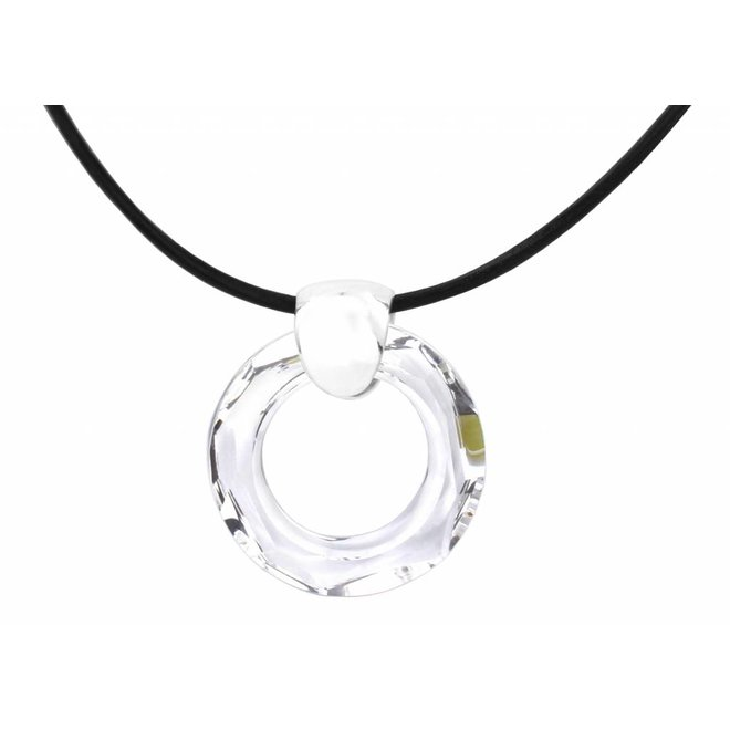 Necklace black leather crystal ring - silver - 1370