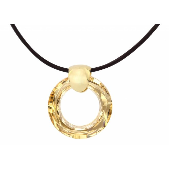 Necklace leather crystal ring - silver gold plated - 1374