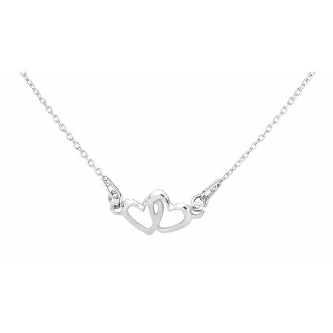 Ketting hartjes hanger sterling zilver - 1324