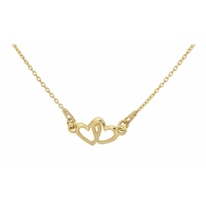 Necklace hearts silver gold plated - 1325