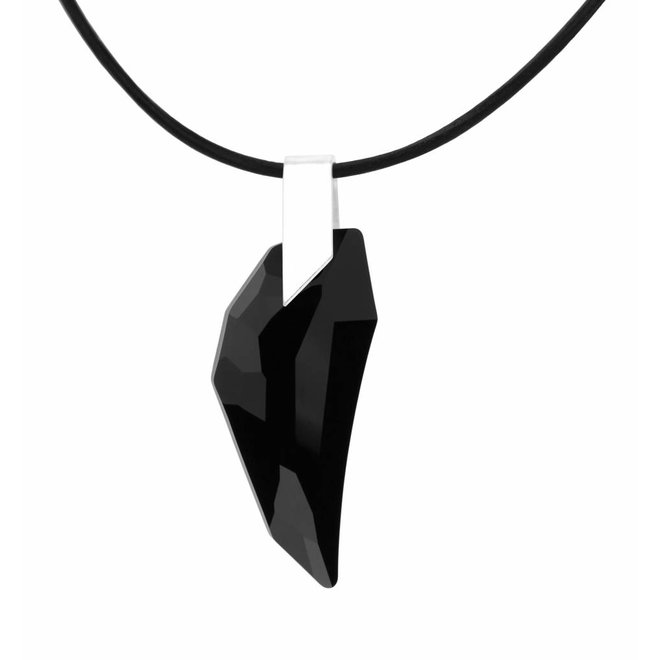 Necklace leather black crystal wing - sterling silver - 1330
