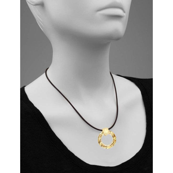 Necklace brown leather Swarovski crystal ring - gold plated sterling silver - ARLIZI 1374 - Iris