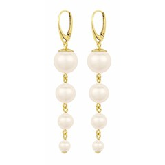 Pearl earrings cream - silver gold plated - 1336