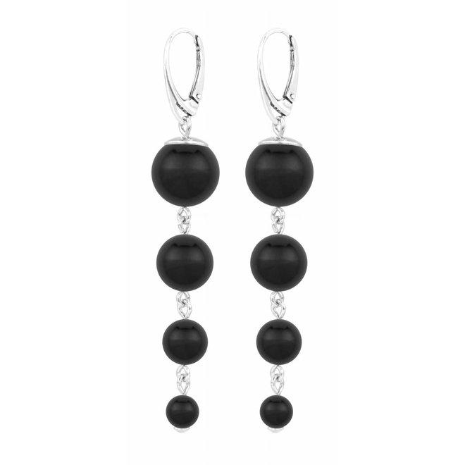 Parel oorbellen zwart - sterling zilver - 1332