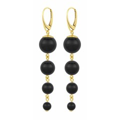 Pearl earrings black - silver gold plated - 1333
