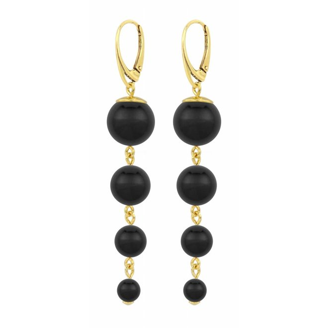 Pearl earrings black - gold plated sterling silver - ARLIZI 1333 - Nora
