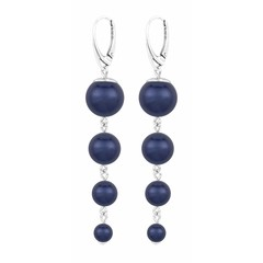 Pearl earrings blue - sterling silver - 1337
