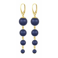 Pearl earrings blue - silver gold plated - 1338