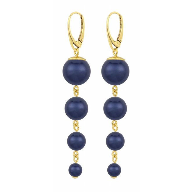 Pearl earrings blue - gold plated sterling silver - ARLIZI 1338 - Nora