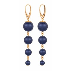 Pearl earrings blue - silver rose gold plated - 1339
