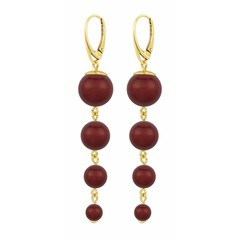 Pearl earrings red - silver gold plated - 1341