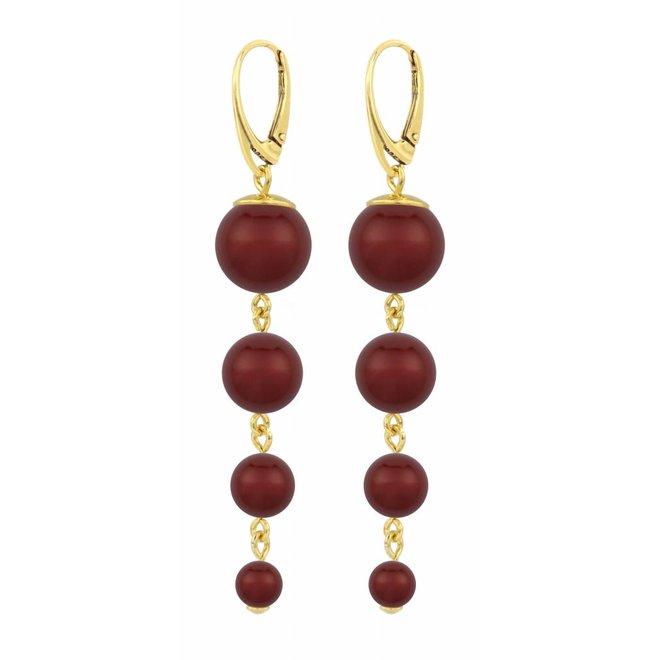 Parel oorbellen rood - zilver verguld - 1341
