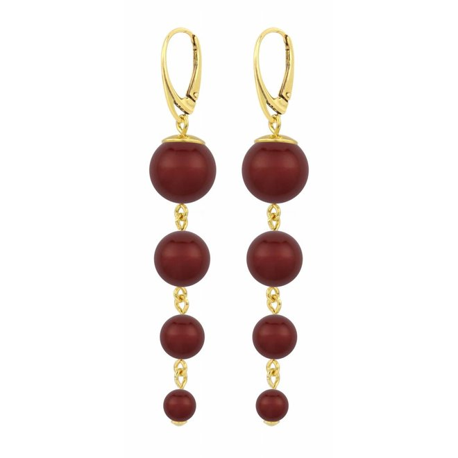 Pearl earrings bordeaux red - gold plated sterling silver - ARLIZI 1341 - Nora