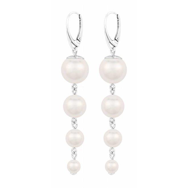 Pearl earrings white - sterling silver - 1335