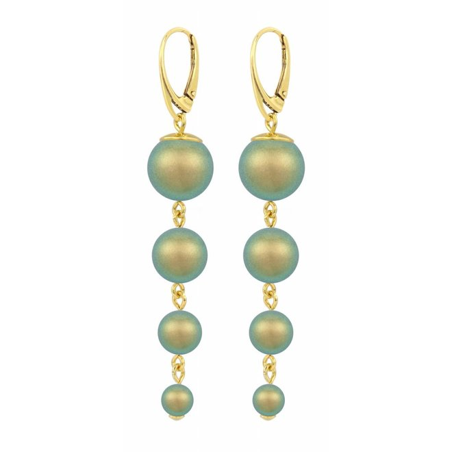 Pearl earrings green - gold plated sterling silver - ARLIZI 1343 - Nora