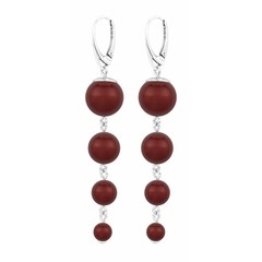 Pearl earrings red - sterling silver - 1340