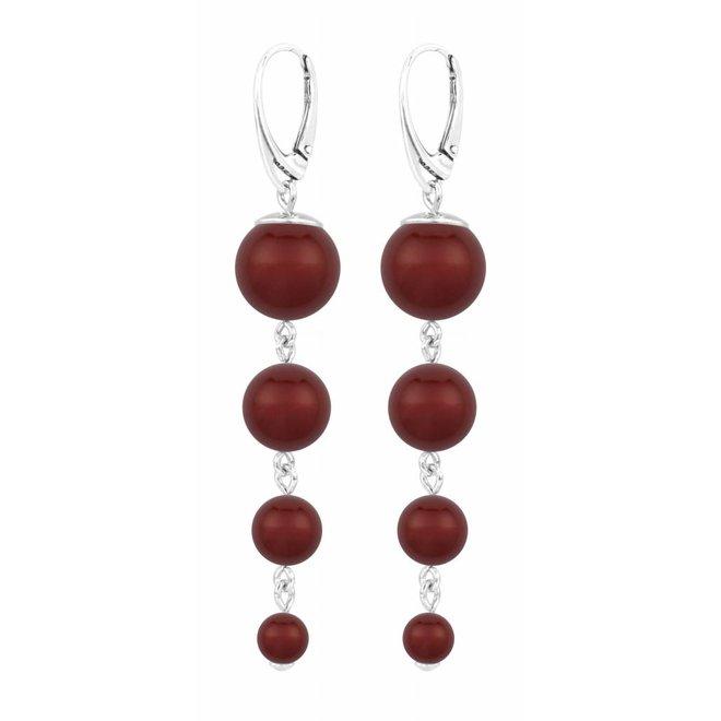 Pearl earrings red - sterling silver - 1340