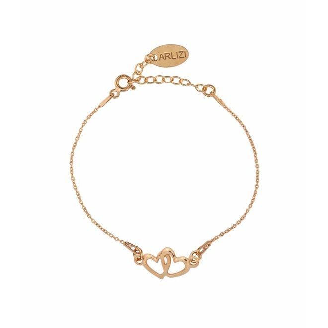 Armband hartjes - zilver rosé verguld - 1506