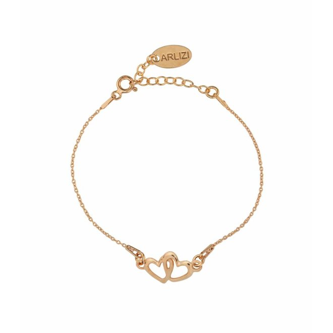 Bracelet hearts - silver rose gold plated - 1506