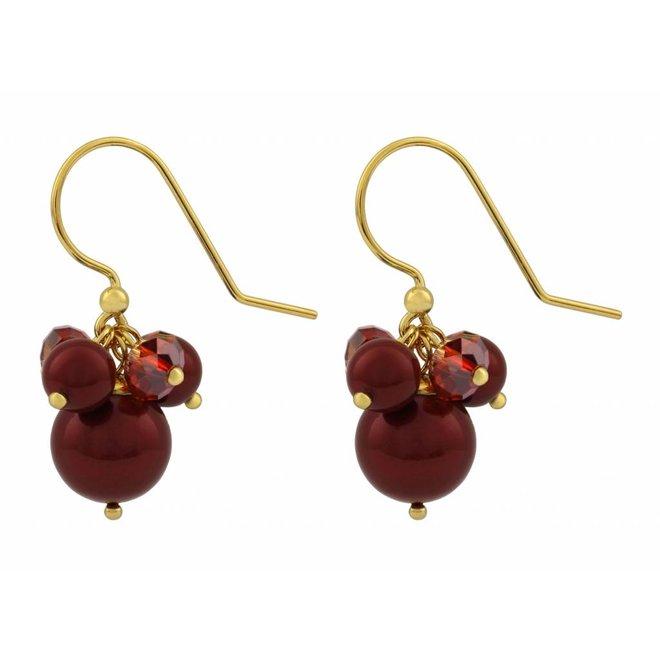 Ohrringe rot Perle Kristall - Silber vergoldet - 1355