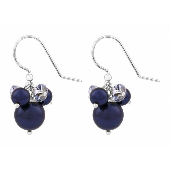 Earrings blue Swarovski pearl crystal - sterling silver - ARLIZI 1349 - Marla
