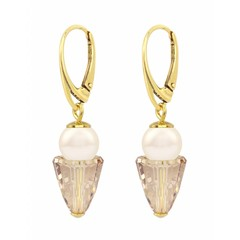 Earrings cream pearl crystal - silver gold plated - 1471