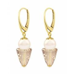 Ohrringe creme Perle Kristall - Silber vergoldet - 1471