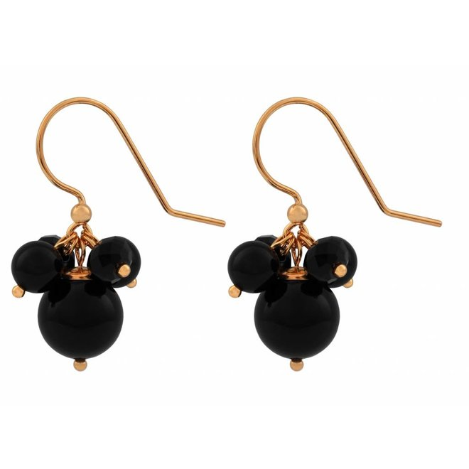 Earrings black pearl crystal - silver rose gold plated - 1361