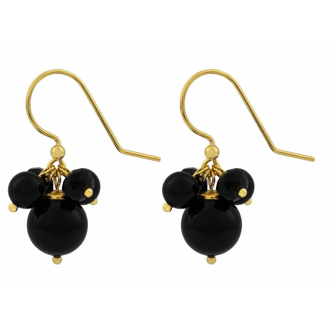 Earrings black pearl crystal - silver gold plated - 1364