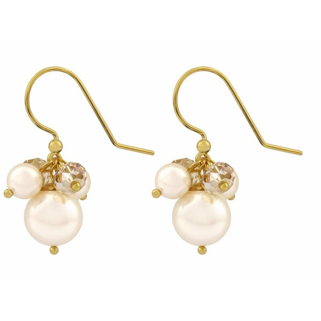 Earrings cream pearl crystal - silver gold plated - 1352