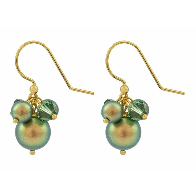 Earrings green pearl crystal - silver gold plated - 1358
