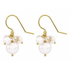 Earrings white pearl crystal - silver gold plated - 1367