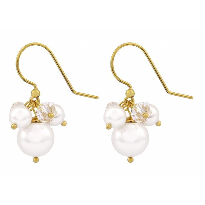 Earrings white Swarovski pearl crystal -gold plated silver - ARLIZI 1367 - Marla