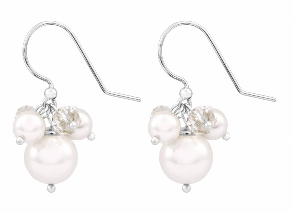 reduzierter Preis Kundschaft zuerst Super Rabatt Ohrringe Swarovski Kristall Perle weiß 925 Silber - ARLIZI 1346