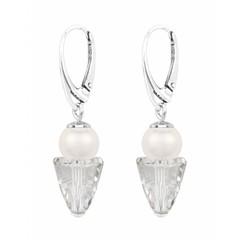 Ohrringe weiß Perle Kristall - Sterling Silber - 1463