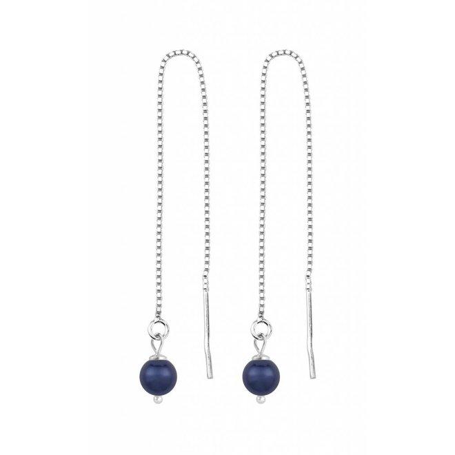 Doortrekoorbellen blauwe parel - sterling zilver - 1508