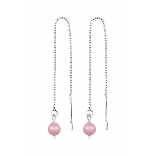 Doortrekoorbellen roze parel - sterling zilver - 1509
