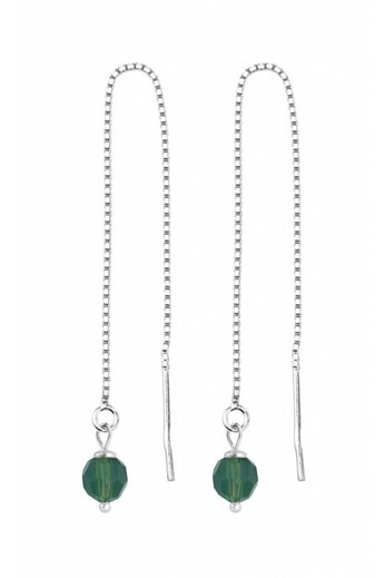 Earrings green Swarovski crystal ear threads - silver - ARLIZI 1510 - Emma