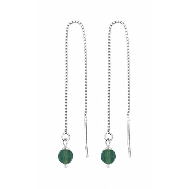Doortrekoorbellen groen kristal - 925 zilver - 1510