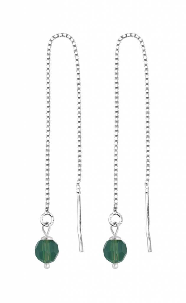 Earrings Swarovski Green Crystal Silver Arlizi 1510