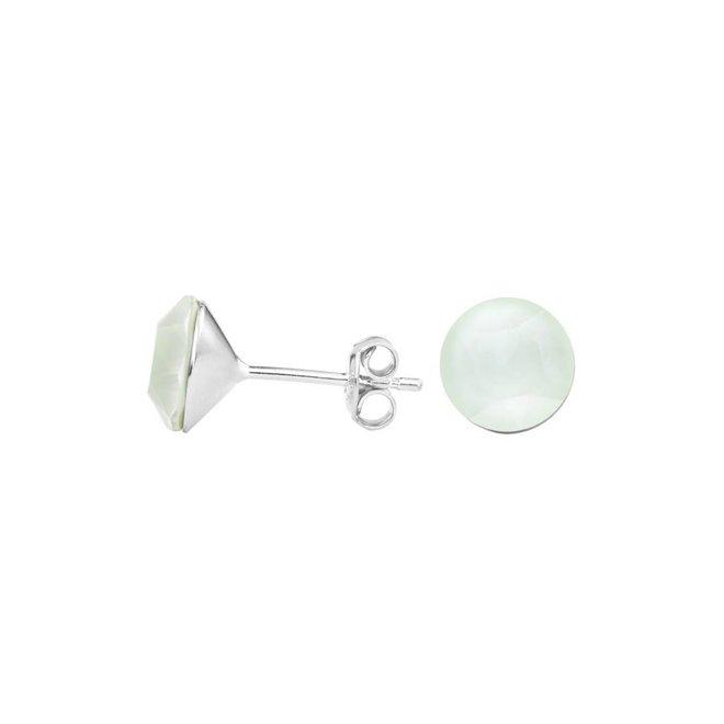 Earrings pastel green crystal ear studs 8mm - silver - 1515