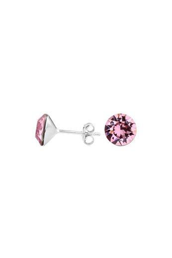 Earrings pink Swarovski crystal ear studs 8mm - silver - ARLIZI 1519 - Lucy