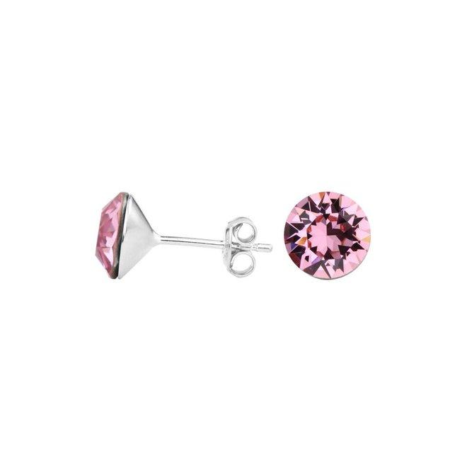 Oorbellen roze kristal oorstekers 8mm - zilver - 1519