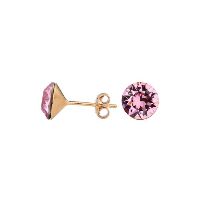 Oorbellen roze kristal 8mm - rosé verguld zilver - 1521