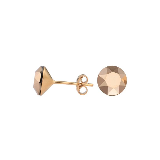 Ohrringe rosé Kristall 8mm - Silber rosé vergoldet - 1523