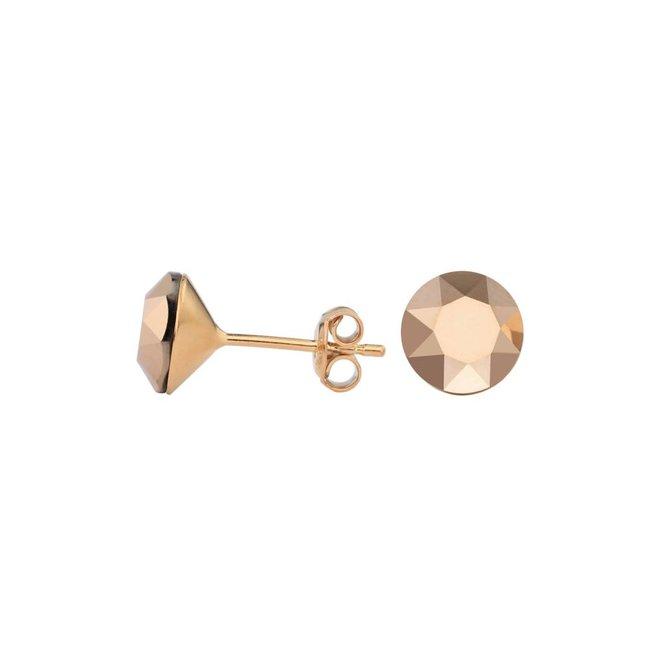 Oorbellen rosé Swarovski kristal oorstekers 8mm - rosé verguld zilver - ARLIZI 1523 - Lucy