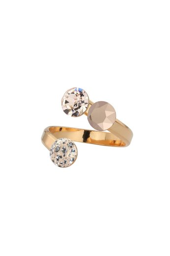 Ring triple Swarovski crystal - rose gold plated silver - ARLIZI 1473 - Lucy