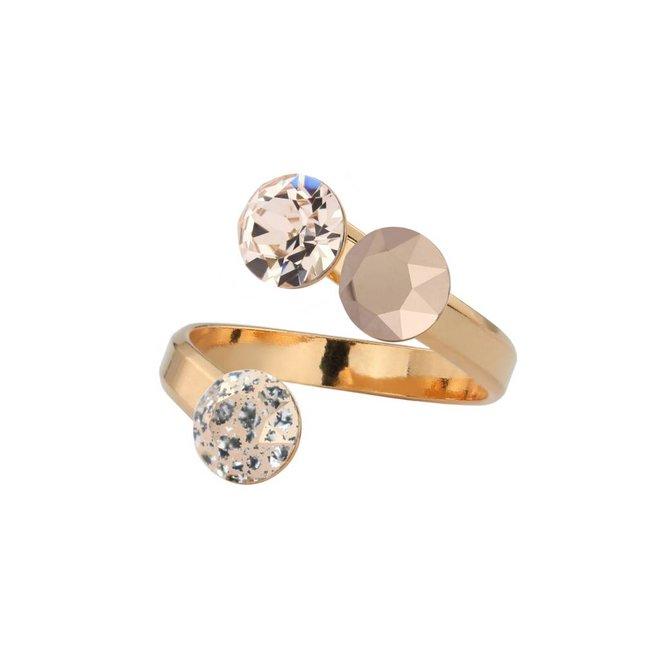 Ring Swarovski crystal - silver rose gold plated - 1473